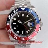 mavi su saatleri toptan satış-Lüks Yüksek Kalite Suya Dayanıklı Basel Kırmızı Mavi Paslanmaz Çelik Gül Altın GMT Mens Otomatik erkekler İzle Reloj Saatler Saatı adam