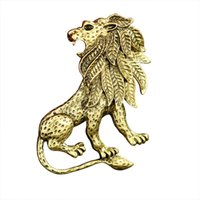 Wholesale white animal brooches resale online - High end Men s suits brooch pins new arrival custom made gold silver lion brooch animal brooch