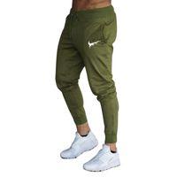 erkekler siyah sıska pantolon toptan satış-Erkek Joggers Rahat Pantolon Spor Erkek Spor Eşofman Altları Sıska Sweatpants Pantolon Siyah Spor Salonları Jogging Yapan Parça Pantolon