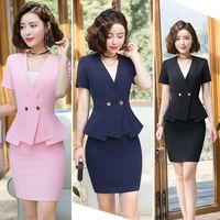 jupe uniforme de travail achat en gros de-Vêtements de bureau d'été 2019 formelle dames d'affaires uniforme rose élégant mini femmes jupe costumes et veste de travail formel 4XL