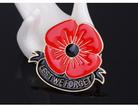 Wholesale forget gifts online - quot Lest We Forget quot Enamel Red Poppy Brooch Pin Badge Golden Flower Metal Remembrance Day Gift DHL