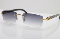 ingrosso occhiali da sole fiore neri-Occhiali senza montatura caldi all'ingrosso di trasporto 8200758 Occhiali da sole neri del corno del fiore del nero Uomini occhiali da sole di marca di alto livello Nuovo ottico unisex