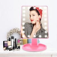 серебряное прямоугольное зеркало оптовых-16/22LED зеркало для макияжа 360 градусов вращения сенсорный экран светодиодный свет зеркало для макияжа USB зарядка компактных зеркал HHA477