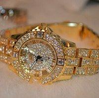 uhr kleid voller diamant großhandel-2016 frauen Strass Uhren Rose Gold Kleid Uhren Voller Diamanten Kristall frauen Luxusuhren Weibliche Quarzuhr 4 Farben MX190717