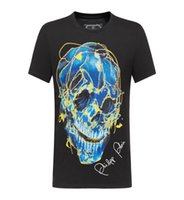 m broca venda por atacado-2019 brand new Moda designer de luxo dos homens Impresso Phillip Simples-de Mangas Curtas Cabeça do Crânio Perfurado T-shirt de Algodão Perfurado M-3XL