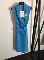 kemerli hatlı gömlek elbisesi toptan satış-Kadın kızlar yelek gömlek elbise mektubu kristal broş rhinestone boru kemer tepe yaka kolsuz a-line midi etek high end lüks elbiseler