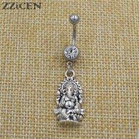 neuer buddha-ring großhandel-Neue indische buddhistische Mandala Lotus Yoga OM Schmuck Buddha Elefant Ganesha Anhänger baumeln Bar Nabel Piercing Bauchnabel Ringe