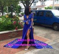 ingrosso abito maxi nero 16-New Royal pizzo blu Appliques Abiti da sera gamba alta Split Black Girls Dress 2019 partito convenzionale per le donne nere abiti convenzionali Celebrity Maxi