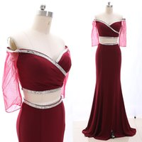ingrosso fuori pullover spalla-MACloth Wine Red A-Line Off the floor-lunghezza lunga Crystal Crystal Jersey Prom Dresses Dress S 265104 Liquidazione