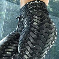 kaliteli dokuma toptan satış-Sıcak Yeni Satış Irenweave Tayt Dokuma Baskılı Kravat Kadınlar Fitness Egzersiz Scrunch Ganimet Tozluk kaliteli