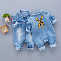 Wholesale baby jeans pattern resale online - Spring Baby Toddler Long Sleeve Lapel Collar Denim Jeans Giraffe Rainbow Pattern Rompers Kids Infant Jumpsuits roupas de bebeMX190912