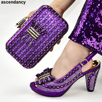 Wholesale italian shoes bags sets for sale - Group buy New Women Shoes High Heel Decorated with Appliques Party Shoes and Bag Sets Italian with Matching Bags High Quality Party