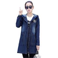 outono moda feminina roupas coreanas venda por atacado-Moda feminina 2019 Jaqueta Jeans de Manga Longa Coreano Slim Hoodies Quebra-vento Primavera Outono Plus Size Roupas 5xl Casaco Feminino H31