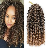 Wholesale afro jerry kinky hair resale online - Pack of Ombre Color Marlybob Crochet Braiding Hair Afro Kinky Curly Jerry Curl Braids Kanekalon Synthetic Hair Extensions quot