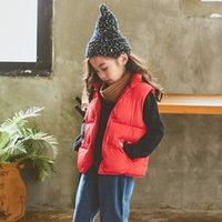 kışlık ceketler unisex parkas toptan satış-Kızlar Boy için İyi Kalite Pamuk Parkas Kolsuz Çocuk Yelek Yaka Coat Aşağı Parkas Çocuklar Ceketler Kış Giyim Standı