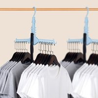 Wholesale plastic storage wardrobe clothes resale online - Multi layer Degree Rotation Hangers Home Wardrobe Foldable Save Space Clothes Racks Multifunctional Magic Clothes Rack BH1566 TQQ