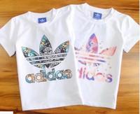 mulheres vestido cebra venda por atacado-T-Shirt Trevo Infantil sénior Designer de Verão Esportes T-Shirt de Manga Curta Meninas de Impressão de Luxo T-Shirt da Camisa das Mulheres Vestido de Moda