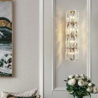 ingrosso specchio di cristallo moderno-moderna parete di cristallo luci a LED Soggiorno Sfondo del riparo della parete di lusso di illuminazione Lampada da comodino nuovo tipo di cristallo dello specchio della lampada