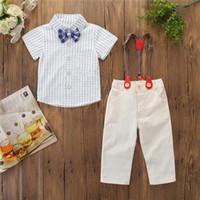 мальчики одеваются для свадьбы оптовых-Baby Clothes Sets Kids Formal Gentleman Dress Strap Shirt Pants Bowtie Boy Suit For Weddings Prom Bebek Giyim Children Suits