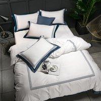 hotel em tamanho grande venda por atacado-De 5 estrelas, Hotel White Luxury 100% algodão egípcio Bedding Sets Conjunto completo Rainha King Size Duvet Cover Bed folha plana lençol Pil