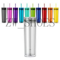 copos coloridos venda por atacado-16 oz Colorido Acrílico Skinny Tumbler dupla parede Dupla Parede Limpar Plástico Tumblers copo sippy com fósforo cor de palha