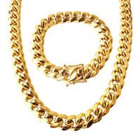 ingrosso set di catene mens-Set di gioielli in acciaio inossidabile placcato oro 24k di alta qualità cubana collana braccialetto link catena cordino da uomo 1,4 cm 8,5