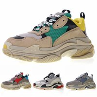 Wholesale Boots - 2019 Luxury Triple S Men Women Casual shoes Top quality New Balck Red Green Stitching Solor Uppers Designer Sneakers Boots 36-45