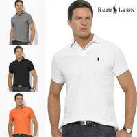polo amarillo delgado al por mayor-Alta calidad 100% algodón camiseta polo hombres ralph hombres hombres de negocios diseñador polo camisa bordada solapa polo camisa Envío gratis