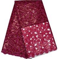 gelinlik için organza kumaş toptan satış-(5 yards / pc) Son tasarım el kesim Afrika organze dantel kumaş fushia Nijeryalı sequins dantel kumaş için düğün parti elbise OP42