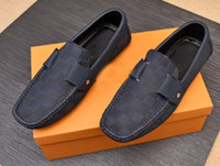 Wholesale cool business men shoes resale online - Fashion Cool Mens GLORIA Loafers Casual Walk Gommino Monogram Cow Leather Slip On Driving Dress Business Shoes Size