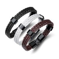 titan charme armbänder großhandel-Hohe qualität mehrschichtige echtes pu-leder männer armband kreative titanium stahl leder armband edelstahl charme armreif jewel ph1260
