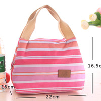 Wholesale insulated cooler tote bag resale online - Striped Lunch Bag Protable Thermal Insulated Bento Lunch Pouch Tote Cooler Zipper Bags Outdoor Food Savers Storage Containers GGA3240