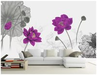 Wholesale chinese kitchen decorations for sale - Group buy Custom photo wallpapers D mural wall papers New Chinese style minimalist artistic ink lotus decorative painting wall papers home decoration