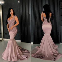 Wholesale sequin bead mermaid formal online - Dusty Rose Lace Appliques Bead Mermaid Prom Party Dresses Sexy Backless Evening Dresses Vintage Formal Party Pageant Gowns