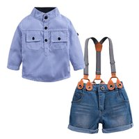 camisa de bebé mandarina al por mayor-Venta al por menor de bebés varones con cuello mao camisa a rayas + overoles de mezclilla 2 piezas set niños trajes de algodón trajes formales de diseñador de ropa para niños