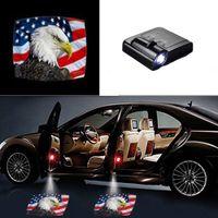 araba kapısı lazer gölge aydınlatma toptan satış-Evrensel Kablosuz LED Gölge Projektör Nezaket Adım Işıkları Hoşgeldiniz Işıkları Arabalar Kapı Gölge Işık Lazer Amblem Lambaları Kiti