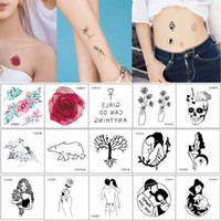 Wholesale cc decals for sale - Group buy 6cm cm CC Fake Small Temporary Tattoo Watercolored Flower Black Beauty Cool Women Decal for Boy Girl Hand Neck Arm Leg Body Tattoo Stickers