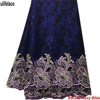 tela de encaje africano voile al por mayor-Tela africana de encaje seco en azul marino 100% algodón Swiss Voile Lace en Suiza Para tela de encaje africana de costura Voile para el vestido SW-340