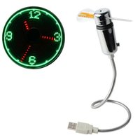 pantalla led flexible al por mayor-Mesa flexible con dispositivo USB Led Mini USB Powered LED Enfriamiento Intermitente Función de visualización en tiempo real Reloj Fan SSA200