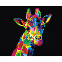 Wholesale wall art oil painting giraffe for sale - Group buy Colorful Giraffe Framed Pictures DIY Painting By Numbers DIY Oil Painting On Canvas Home Decoration Wall Art GX26194 X50CM