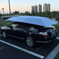 elektrik uzaktan kumandalı otomobiller toptan satış-Elektrikli Araba Şemsiye Uzaktan Kumanda Ile Otomatik Güneşlik 4.2 * 2.2 M Araba Çatı Çadır Oto Kalkanı Güneşlik Koruyucu GGA2190