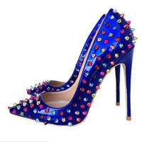 насосы для дам оптовых-2019 мода синий цвет высокий каблук заклепки запатентованные женщины туфли на высоком каблуке дамы шипованные шипованные туфли на высоком каблуке насос туфли 8 см
