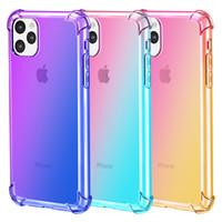 funda de silicona arco iris al por mayor-Para iPhone 11 Pro Max XS XR X 8 7 Plus Rainbow Silicone Gradient Clear Soft TPU Celulares Fundas