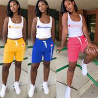 Wholesale 3xl yoga pants resale online - Women Champions Letter Sleeveless T Shirt Vest Shorts Pants Summer Tracksuit Outfit Piece Set Sportswear Sports Yoga Gym Suits A4801 S XL