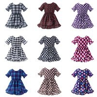 Wholesale kids plaid beach shorts for sale - Group buy Cute Princess Ruffle Sleeve Dress Kids Plaid Dot Dress Baby Clothing INS Children colors Lattice print Beach Dress TTA686