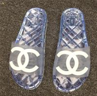 Wholesale women shoe peep toe tie resale online - New Fashion Women men sandals comfortable Beach shoes transparent flip flops woman casual Jelly slippers unisex peep toe sandals C53651
