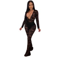 3e4424536c9 Lace Mesh Patchwork Sexy Black Bodysuit Women Deep V Neck Long Sleeve See  Through Jumpsuit Elegant Mujer One Piece Party Overall