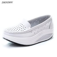Wholesale white leather nursing shoes women for sale - Zhenzhou Pumps Woman Shoe Summer Genuine Leather Cutout Breathable Swing Shoes White Nurse Shoes Wedges Heighten Mother Shoes