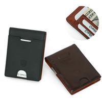 Wholesale front pocket wallets for sale - Group buy New Men Fashion Slim Minimalist Front Pocket Short Style Blocking Card Genuine Leather Business Wallets