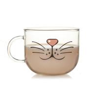 kupalar satışı toptan satış-Promosyon Lovelty Cam Bardak Kedi Yüz Kupalar Kahve Çay Süt Kahvaltı Kupa Yaratıcı Hediyeler 540 ml Fabrika Doğrudan Satış
